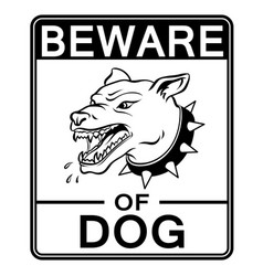 beware of angry dog coloring book vector image vector image