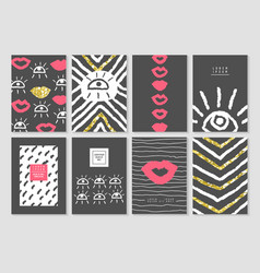 black and gold design card template set vector image vector image