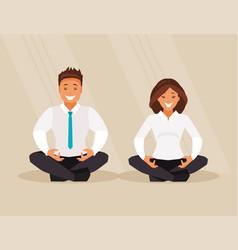 business people meditation vector image