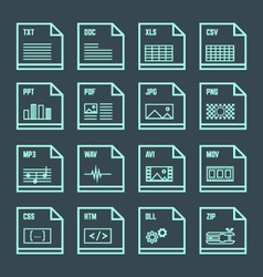 file formats minimal outline design icons set vector image vector image