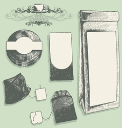 tea label set vector image vector image