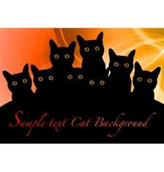 cat black background orange vector image