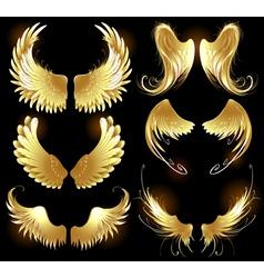 golden wings of angels vector image vector image