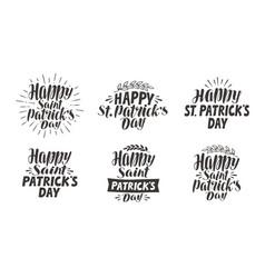 saint patricks day lettering label set vector image vector image
