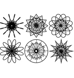 Set of spirograph circular shapes vector image