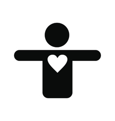 Silhouette of a man with a heart icon vector image vector image