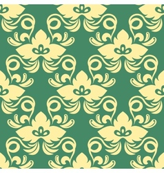 Yellow on green seamless floral pattern vector image