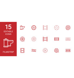 15 filmstrip icons vector image