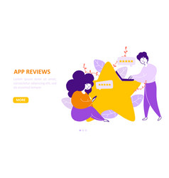 app review landing page flat template vector image