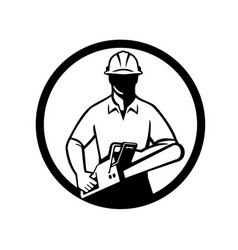 Arborist or tree surgeon holding chainsaw circle vector