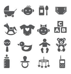 baby icons set on white background vector image