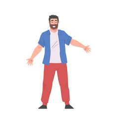 Bearded man standing with his arms outstretched vector