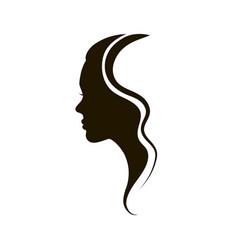 beautiful female logo profile vector image