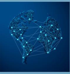 Blue dot globe world map for technology concept vector