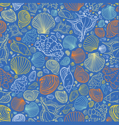 Blue repeat pattern with variety of vector