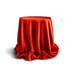 Box covered with red silk cloth vector