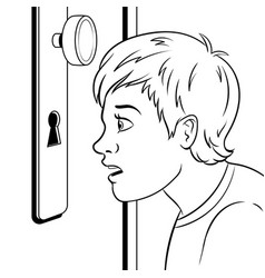 boy peeks into the keyhole coloring book vector image