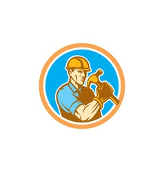 Builder Carpenter Holding Hammer Circle Retro vector