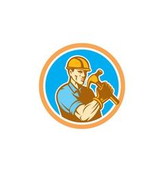 Builder Carpenter Holding Hammer Circle Retro vector image