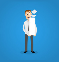 business man and paper ream a lot of work vector image
