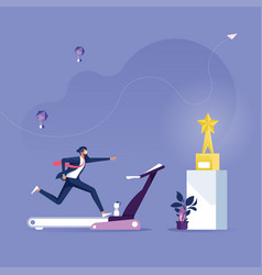 Businessman trying to achieve success trophy vector