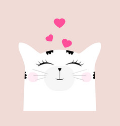 cartoon cat drawing cute funny beast on a card vector image