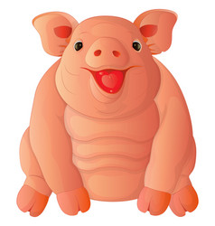 cartoon fat cheeful pig vector image