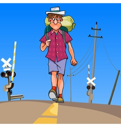cartoon man with a backpack walking along the road vector image