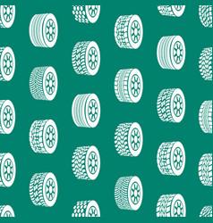 cartoon silhouette tire or wheel seamless pattern vector image