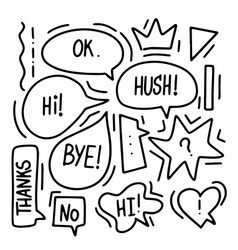 Cartoon speech bubble hand-drawn for decoration vector