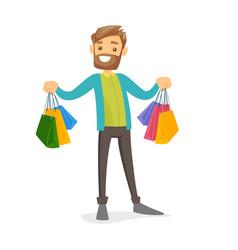 Caucasian white consumer holding shopping bags vector
