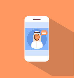 Cell smart phone with muslim man chat media vector