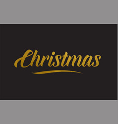 Christmas gold word text typography vector