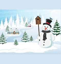 christmas scene winter landscape vector image