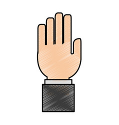 Color pencil image front view hand with side vector
