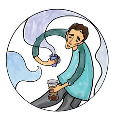 conceptual a boy brewing coffee vector image