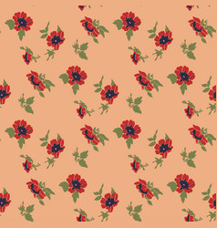 drawing bloom red flowers roses floral seamless vector image
