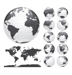 Earth globes set and world map vector