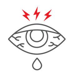 Eye sore thin line icon body and injure eye vector
