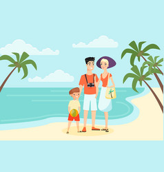 family vacation sea or ocean flat cartoon color vector image