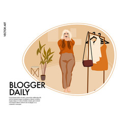 fashion video blogger woman with wardrobe vector image
