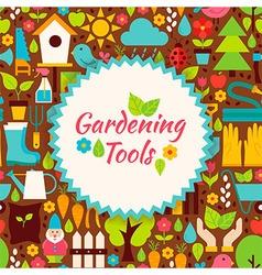 Flat Gardening Tools Brown Poster Postcard vector image