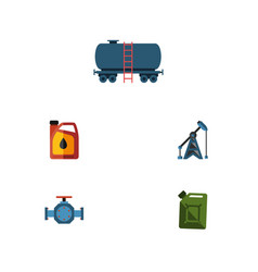 flat icon fuel set of container jerrycan fuel vector image
