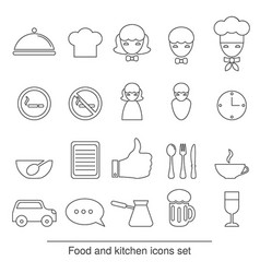 food and kitchen line icons food and kitchen line vector image