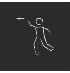 Frisbee icon drawn in chalk vector image
