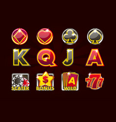 gaming icons of card symbols for slot vector image