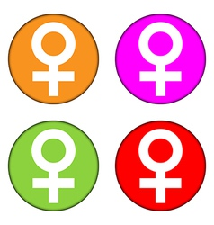 Gender female symbol buttons set vector