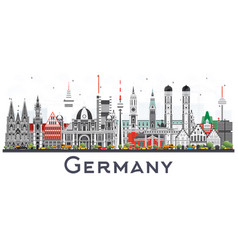 germany city skyline with gray buildings isolated vector image