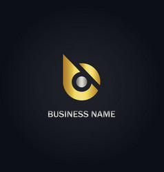 gold b initial company logo vector image