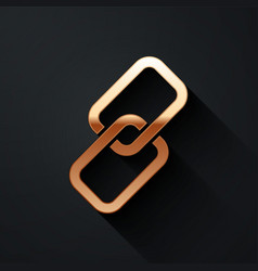 Gold chain link icon isolated on black background vector